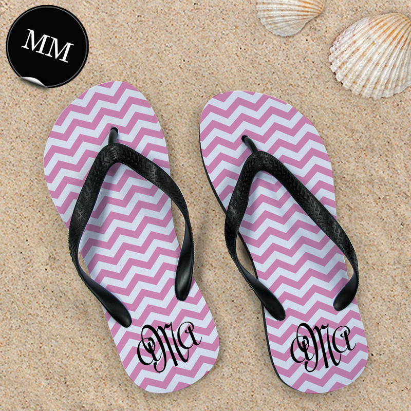 442cef0c46ad Pink Chevron Pattern with Personalized Name Flip Flops Size Men ...