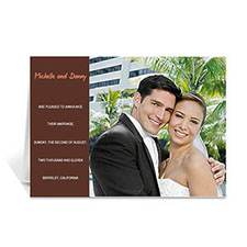 Chocolate Brown Wedding Photo Cards, 5x7 Folded Modern