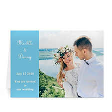 Baby Blue Wedding Photo Cards, 5x7 Folded Modern