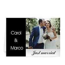 Classic Black Wedding Photo Cards, 5x7 Folded Modern