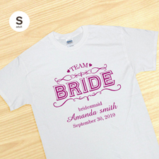 Custom Team Bride, White Adult Small T Shirt