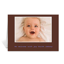 Chocolate Brown Baby Photo Cards, 5x7 Folded