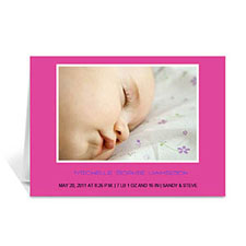 Hot Pink Baby Photo Cards, 5x7 Folded