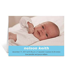 Baby Blue Photo Cards, 5x7 Portrait Folded Simple