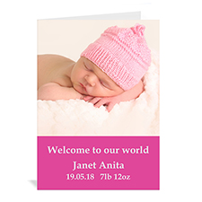 Hot Pink Baby Photo Cards, 5x7 Portrait Folded Simple
