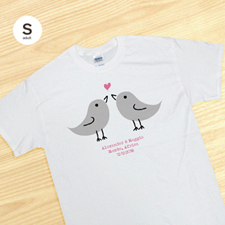 Custom Pink Love Birds White Adult Small T Shirt