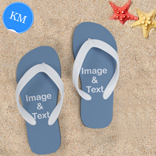 Design My Own Two Images Kids Medium Color White Flip Flops