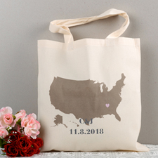 Personalized US Map Wedding Tote - Heart