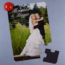 Personalized Photo Wedding Announcement Magnetic Puzzle Card