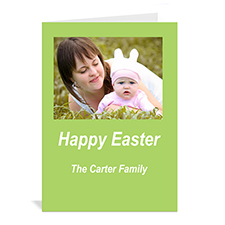Easter Green Photo Invitation Cards, 5x7 Portrait Folded