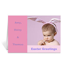 Easter Pink Photo Greeting Cards, 5x7 Folded Modern