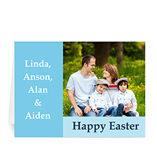Easter Blue Photo Greeting Cards, 5x7 Folded Modern