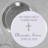 Grey Christening Magnet with Simple Cross