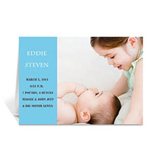 Baby Blue Photo Birth Announcements Cards, 5x7 Folded Modern