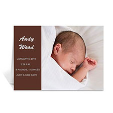 Chocolate Brown Photo Birth Announcements Cards, 5x7 Folded Modern