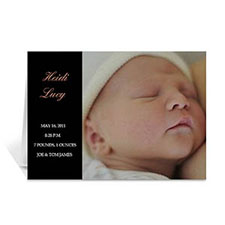 Classic Black Baby Photo Cards, 5x7 Folded Modern