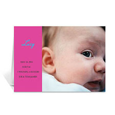 Hot Pink Baby Photo Cards, 5x7 Folded Modern