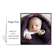 White Baby Photo Greeting Cards, 5x7 Folded Modern