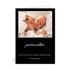 Classic Black Baby Shower Photo Cards, 5x7 Portrait Folded