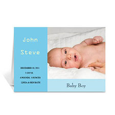 Baby Blue Baby Shower Photo Cards, 5x7 Folded Modern