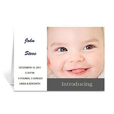 White Baby Shower Photo Announcement Cards, 5x7 Folded Modern