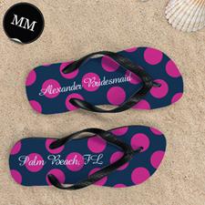 Design My Own Dot Navy Pink Personalized Monogrammed, Men Medium Flip Flop Sandals