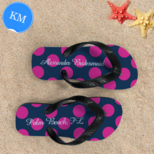 Design My Own Dot Navy Pink Personalized Monogrammed, Kid's Medium Flip Flops