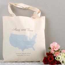 Personalized US Map Wedding Tote - Sunshine