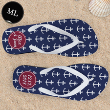 Blue White Anchors Red Monogram Men Large