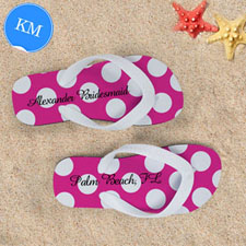 Design My Own Custom Name Bright Pink Polka Dot, Kids' Medium Flip Flops