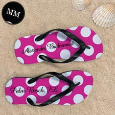Design My Own Custom Name Bright Pink Polka Dot, Men's Medium Flip Flop Sandals