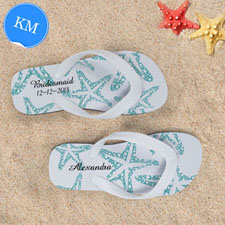 Design My Own Aqua Starfish White Stripes Kids Medium Flip Flops