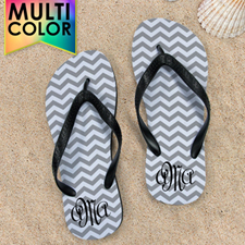 Design My Own Chevron Monogrammed  Many Colors Kids Medium Flip Flops