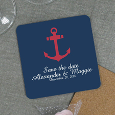 Red & Navy Anchor Nautical Wedding Personalized