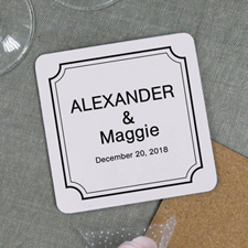 Classic Frame Personalized Wine Coaster for Wedding