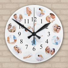 Family Portrait Photo Collage Acrylic Clock