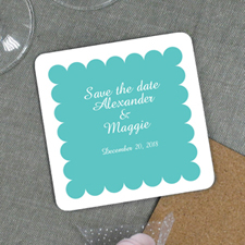 Aqua Personalized Wedding Luxe Square Coaster
