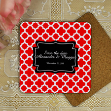Personalized Red Moroccan Pattern Save the Date