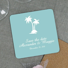Palm Tree Destination Wedding Welcome Bag Coaster Gift