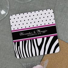 Polka Dots Zebra Print Wedding Personalized Coaster