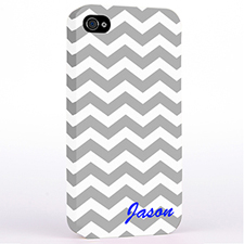 Grey Chevron Monogrammed iPhone 4