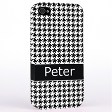 Black Houndstooth Monogrammed iPhone 4