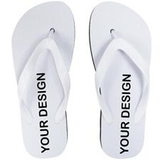 Custom Imprint Flip Flops (One Image) White Straps, Men Small
