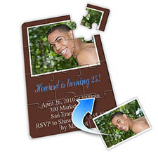 Photo Puzzle Birthday Invitation, 5x7 Chocolate