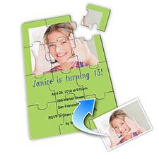 Photo Puzzle Birthday Invitation, 5x7 Lime