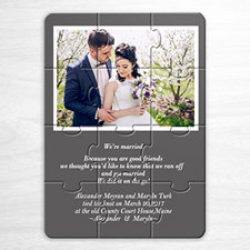 Wedding Photo Puzzle Announcement, 5x7 Grey