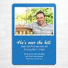 Photo Puzzle Birthday Invitation, 5x7 Blue