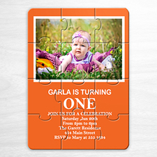 Photo Puzzle Birthday Invitation, 5x7 Orange