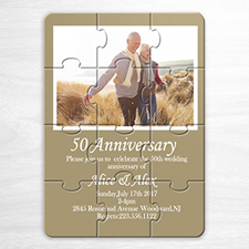Wedding Photo Puzzle Announcement, 5x7 Beige