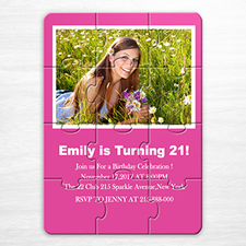 Photo Puzzle Birthday Invitation, 5x7 Hot Pink